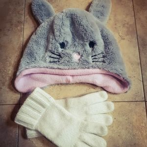 Cute bunny with ears toque♡ and gloves